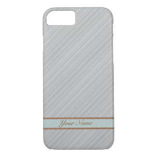 Light grey gray diagonal stripes personalized name iPhone 8/7 case