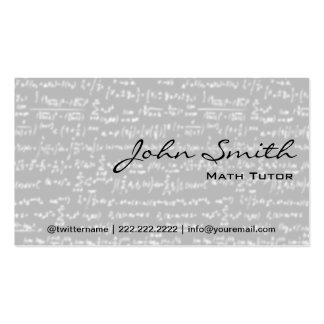Light Grey Math Formulas Math Tutor Business Card
