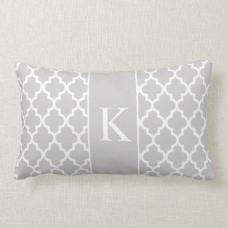 Light Grey Moroccan Custom Monogram Lumbar Pillow