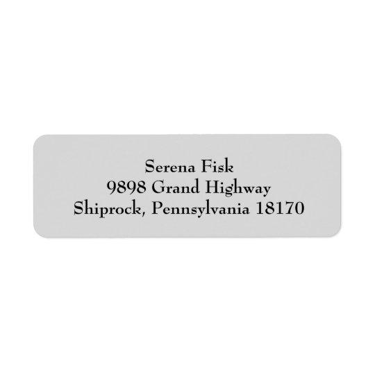 Light Grey Simple Plain Return Address Labels