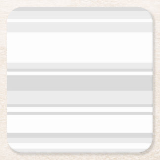 Light grey stripes square paper coaster