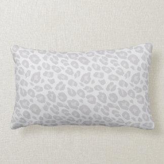 Light Grey Tonal Leopard Print Lumbar Pillow