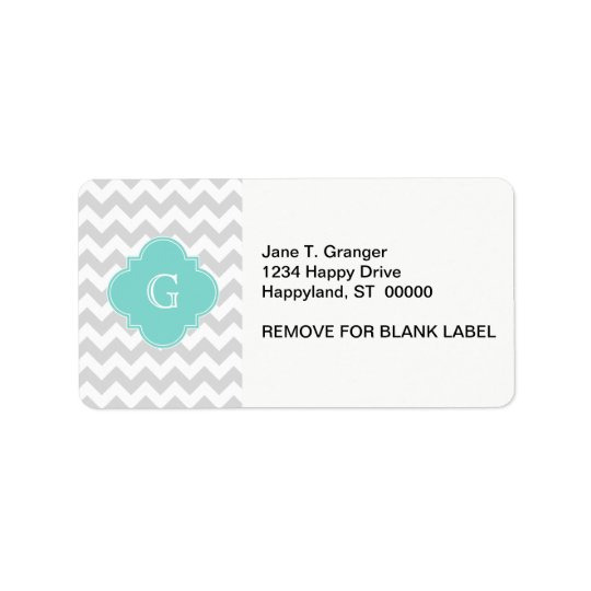 Light Grey White Chevron Aqua Quatrefoil Monogram Address Label