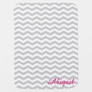 Light Grey & White Chevron Monogram Baby Blanket