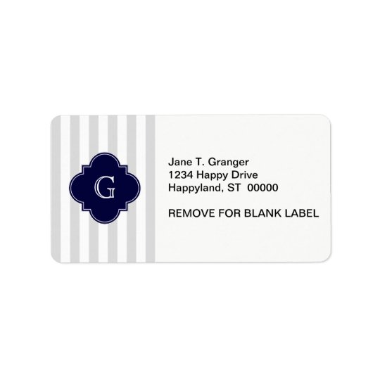 Light Grey White Stripes, Navy Blue Label Monogram