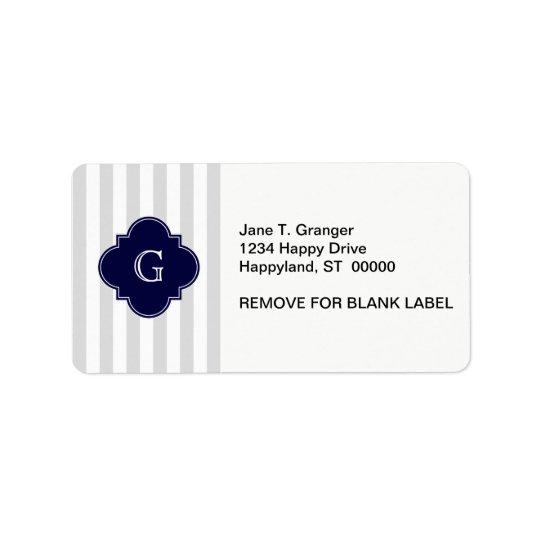Light Grey White Stripes, Navy Blue Label Monogram Address Label