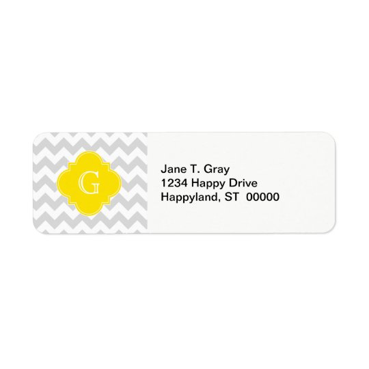 Light Grey Wht Chevron Yellow Quatrefoil Monogram Return Address Label