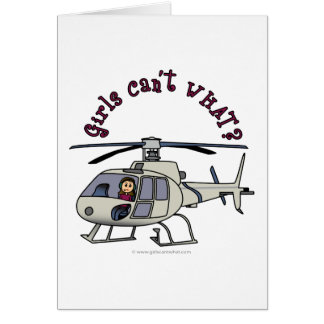 Light Helicopter Pilot Girl Card