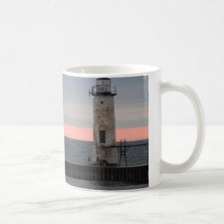 Light house and sunset view basic white mug