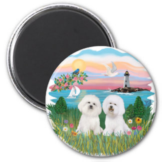 Light House - Two Bichon Frise Magnet