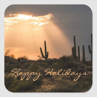 Light in the Desert, Happy Holidays Square Sticker