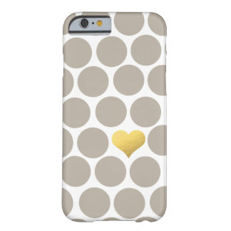 Light Khaki Polka Dot Gold Foil Heart iPhone Barely There iPhone 6 Case