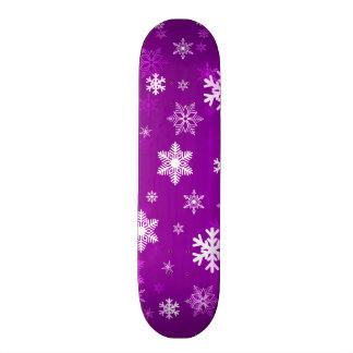 Light Lilac Snowflakes Skate Board