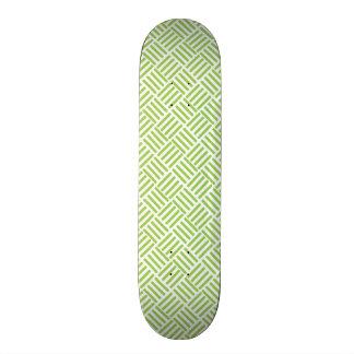 Light Lime Green Crosshatch Pattern Skate Board Deck