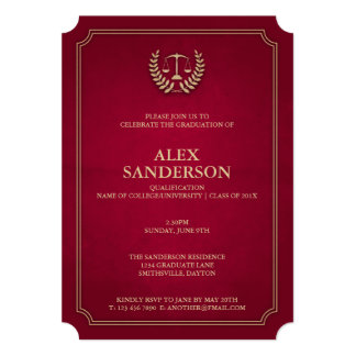 Light Maroon and Gold Law School Graduation 13 Cm X 18 Cm Invitation Card
