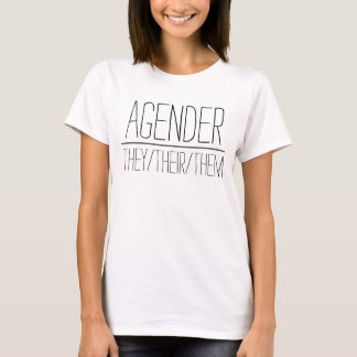 """light material """"Agender"""" shirt with pronouns"""
