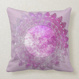 Light Mauve with Pink Lace Crochet Doily Pillow