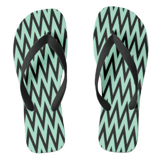 Light Mint Green and Black Zigzag Thongs