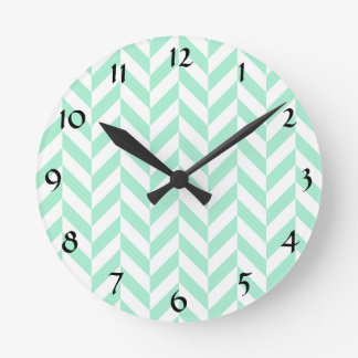Light Mint Green Chevron Pattern Round Clock