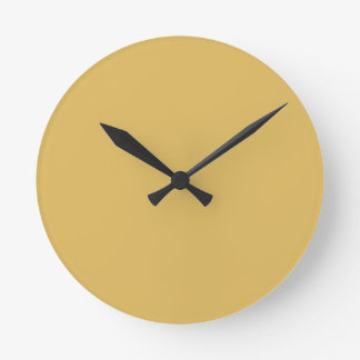 Light Mustard Yellow Solid Colour Round Clock