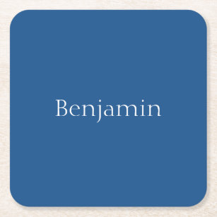 Wonderful Light Navy Blue Customisable Square Paper Coaster Photo