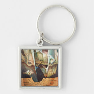 Light Of Hope Silver-Colored Square Key Ring