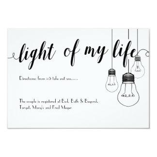 Light of my life wedding details card