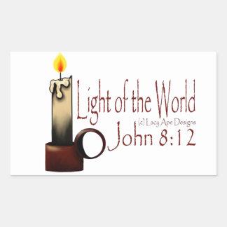Light of the World (White) Rectangular Sticker