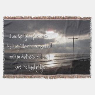 Light of World Cross Beach Sun Rays Throw Blanket