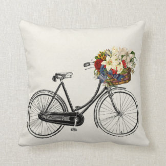 Light off grey white bicycle flower   Throw pillow