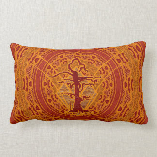 Light Orange Abstract Old Withered Tree Lumbar Cushion