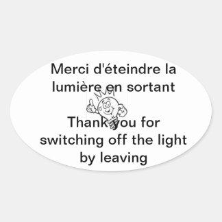 light oval sticker