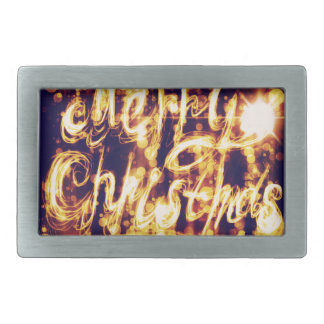 Light Painted Xmas Greeting Rectangular Belt Buckle