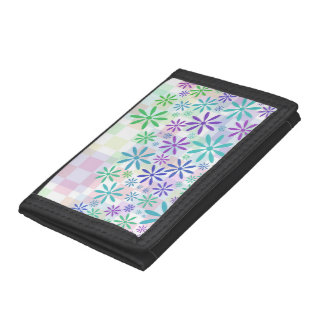 Light Pastel Check Flowers Trifold Wallets