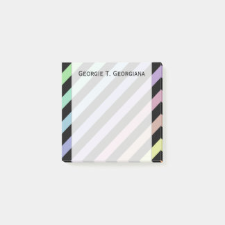 Light Pastel Colors & Black Stripes Pattern + Name Post-it Notes