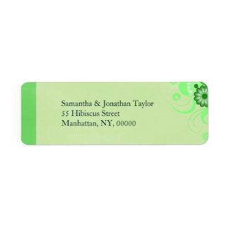 Light Pastel Green Floral Return Address Labels