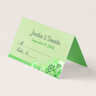 Light Pastel Green Hibiscus Floral Folded Table Place Card