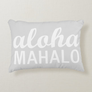 Light Pastel Grey Aloha Mahalo Typography Hawaiian Decorative Cushion