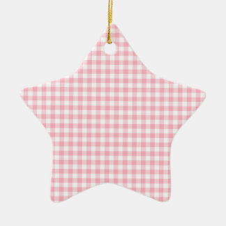 Light Pastel Pink and White Gingham Double-Sided Star Ceramic Christmas Ornament