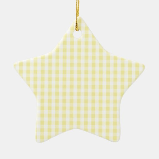 Light Pastel Yellow & White Gingham Pattern Christmas Ornaments