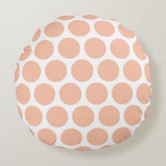 Light Peach Retro Colorful Modern Polka Dots Round Cushion
