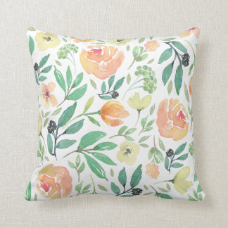 Light Peach & Yellow Watercolors Flowers Pattern Cushion