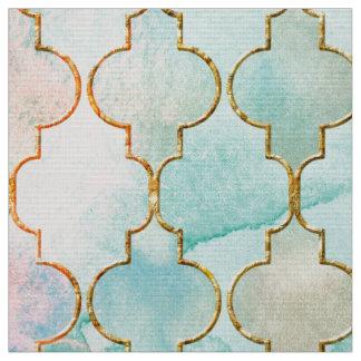 Light pink and Aqua Maroccan pattern Fabric