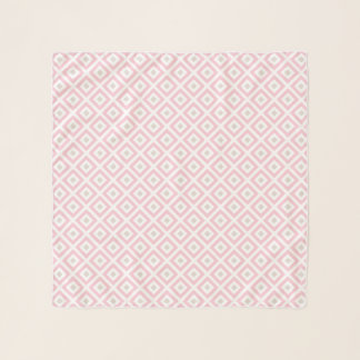 Light Pink and Beige Geometric Pattern Scarf