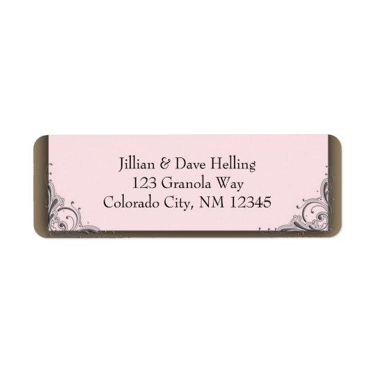 Light pink and brown accent address Label