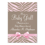 Light Pink and Brown Zebra Bow Baby Shower Custom Announcements
