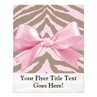 Light Pink and Brown Zebra w/ Ribbon Bow 11.5 Cm X 14 Cm Flyer