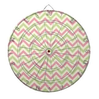 Light Pink and Green Chevron Stripes Dart Board