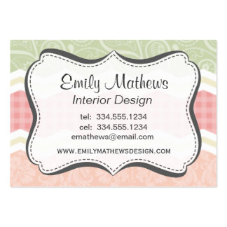 Light Pink and Green  Cute Patterns Business Card