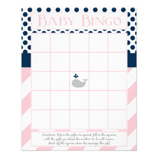 Light Pink and Navy Whale Baby Shower Bingo Flyer